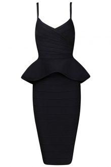 Black Strappy 2 Pieces Peplum Bandage Dress