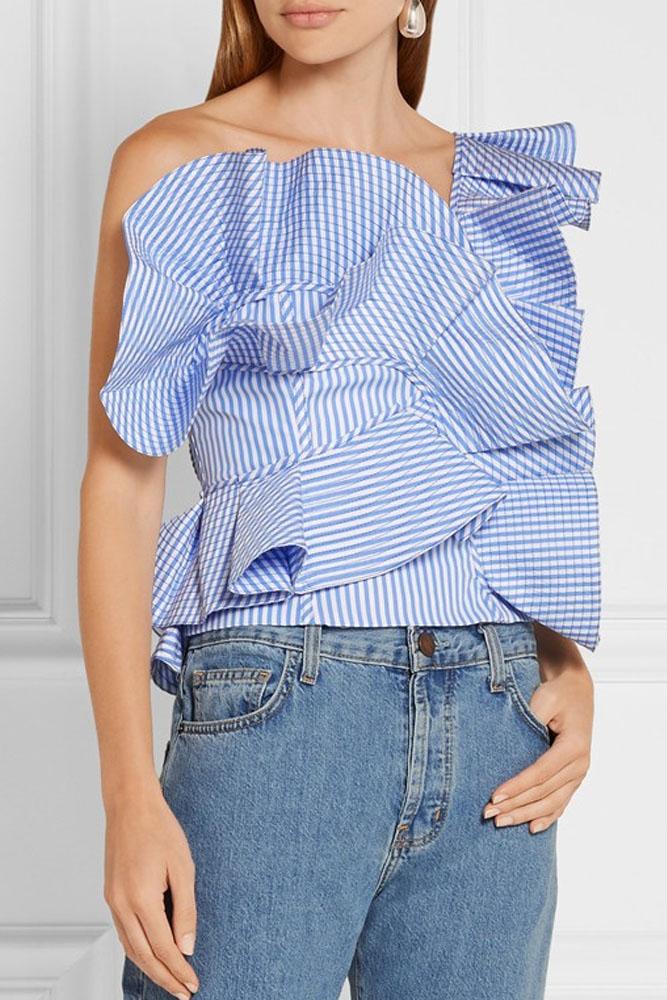 Blue One Shoulder Sleeveless Stripe Ruffle Bodycon Top