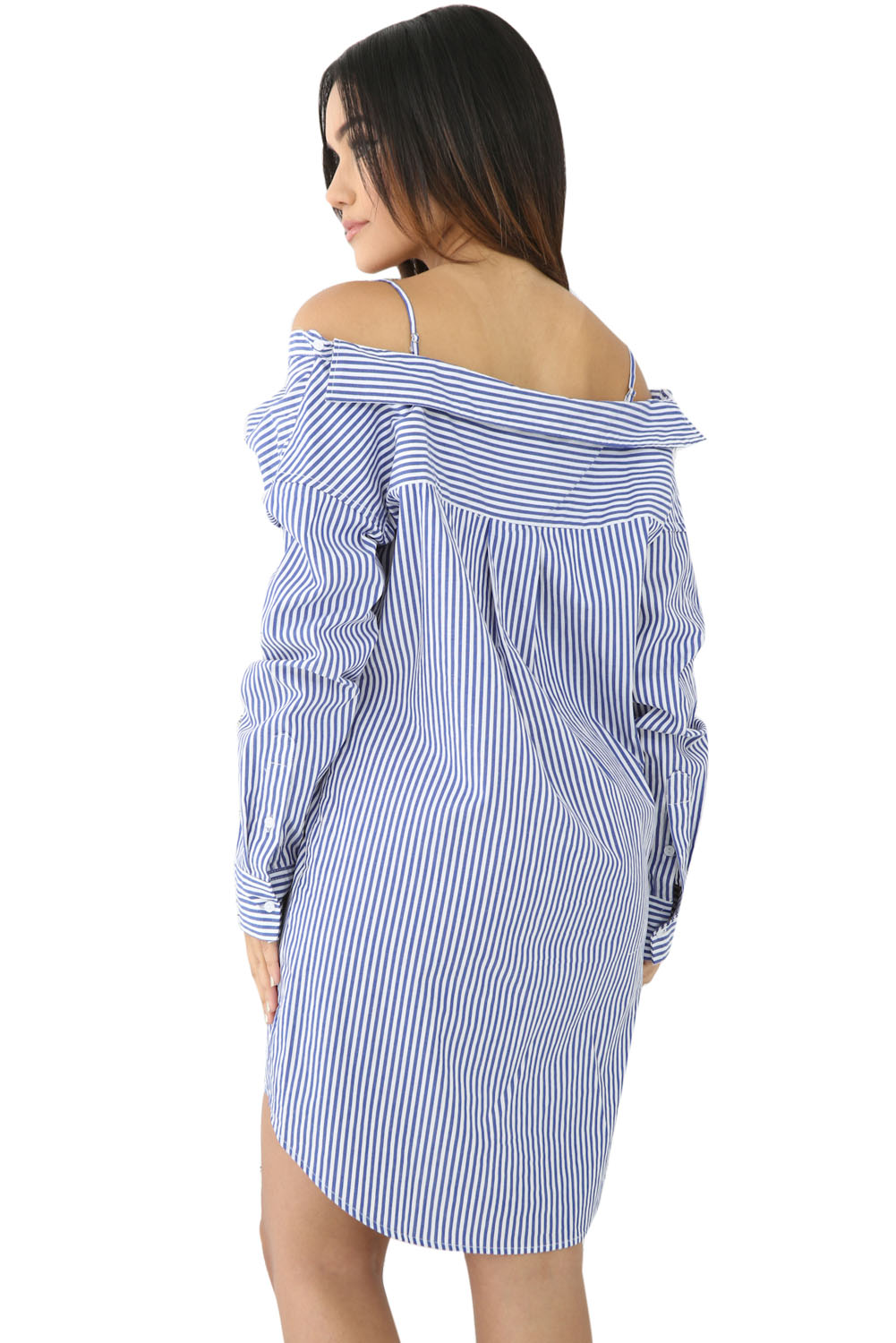 Blue White Pinstripe Sexy Off Shoulder Shirt