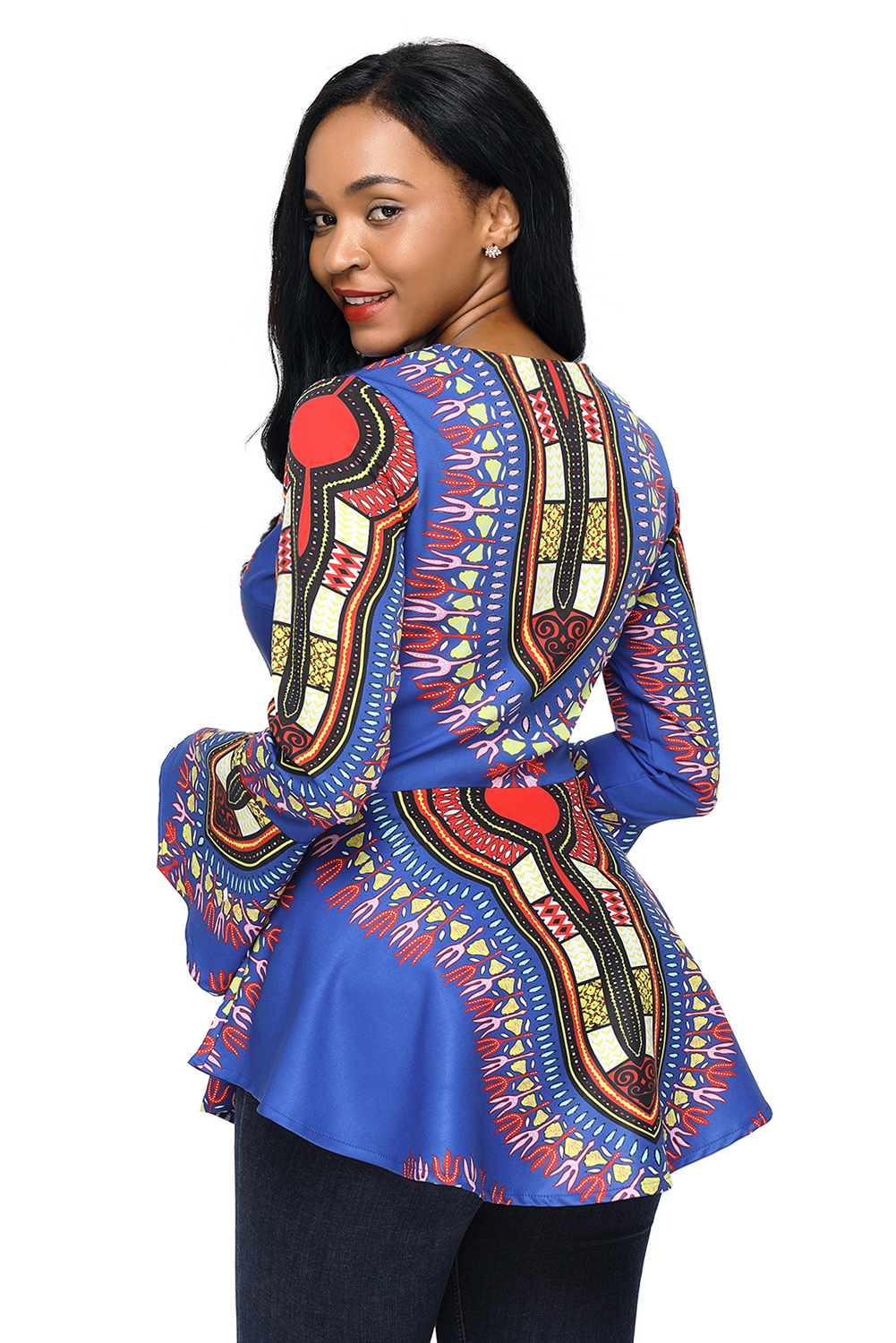 Orange African Print Zipper Front Long Sleeve Top