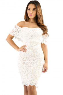 Cream Color Lace Off Shoulder Bodycon Dress