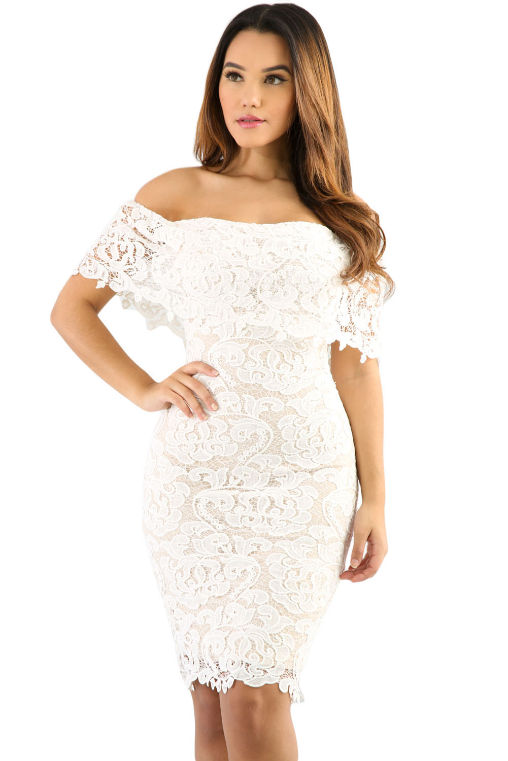 Cream Color Lace Off Shoulder Bodycon Dress