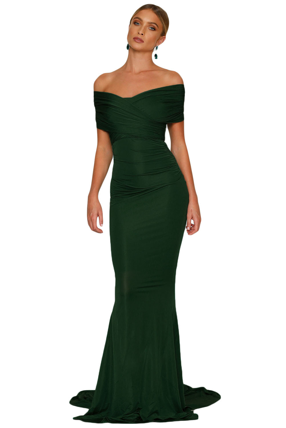 Emerald Off-shoulder Mermaid Wedding Party Gown
