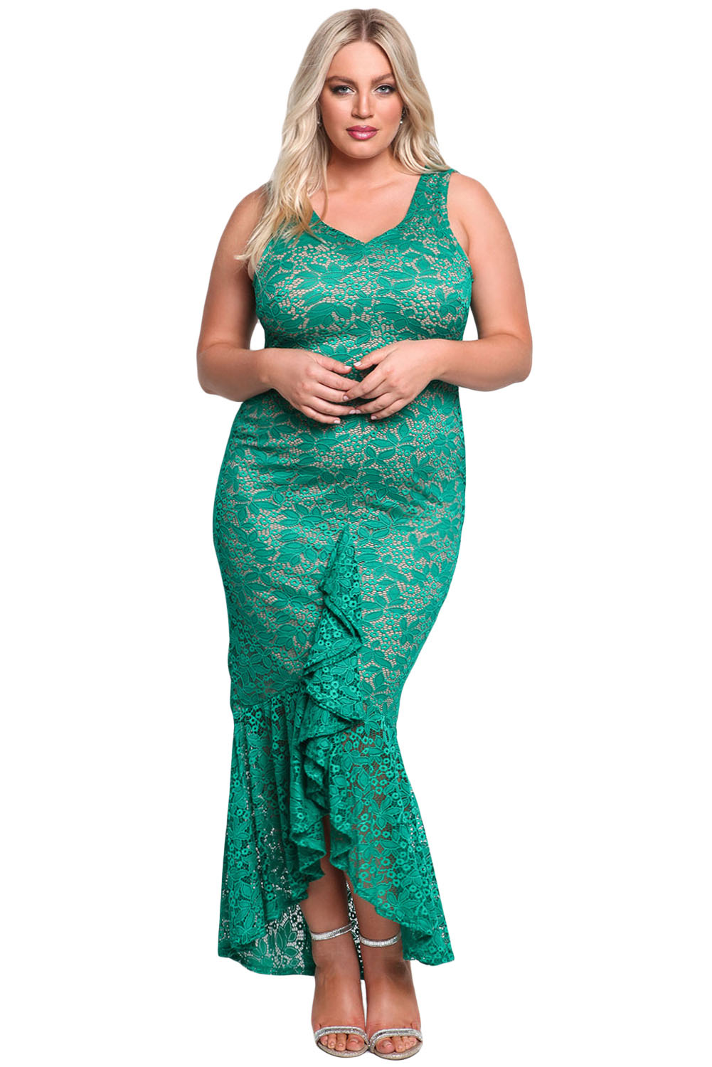 Emerald Plus Size Floral Lace Ruffle Mermaid Maxi Gown
