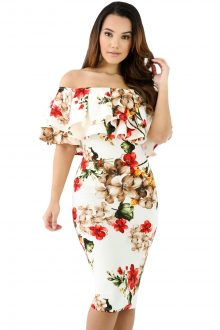 Floral Layered Ruffle Off Shoulder Midi Dress