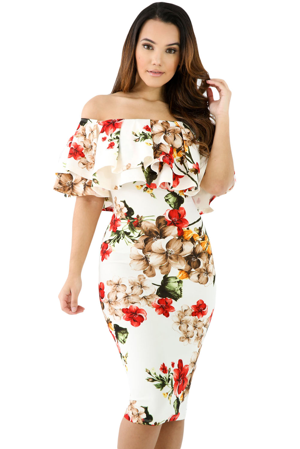 535df80d019 Floral Layered Ruffle Off Shoulder Midi Dress
