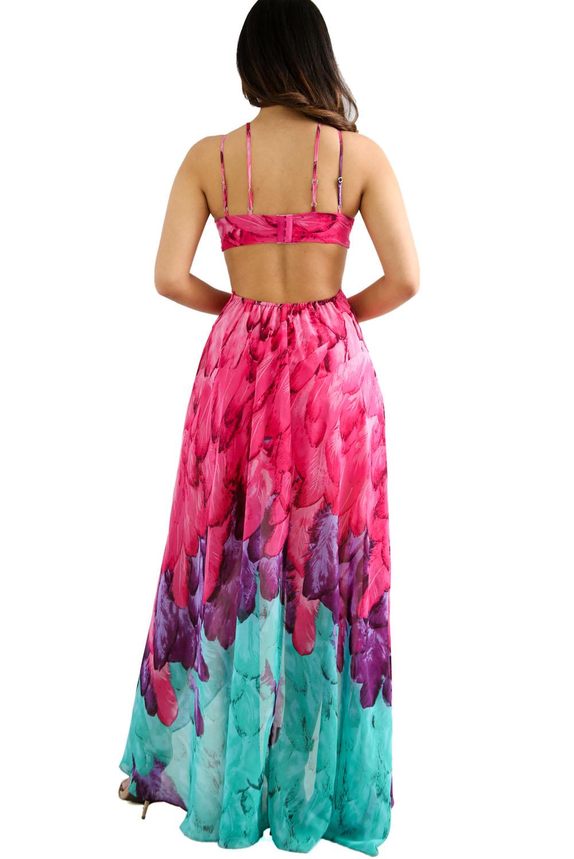 Fuchsia Multi-color Feather Print