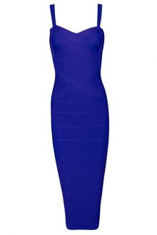Blue V Neck Cross Over Sleeveless Over Knee