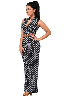 Lattice Print Belted Wide Leg Jumpsuit