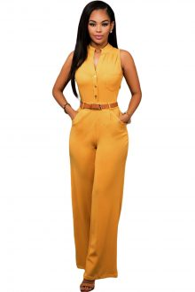 Mustard Belted Wide Leg Jumpsuit