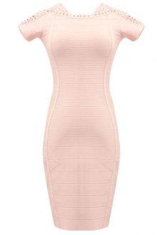 Nude Mini Shoulder Cross Lace Evening Dress