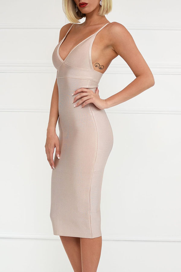 Nude V Neck Open Back Bandage Dress