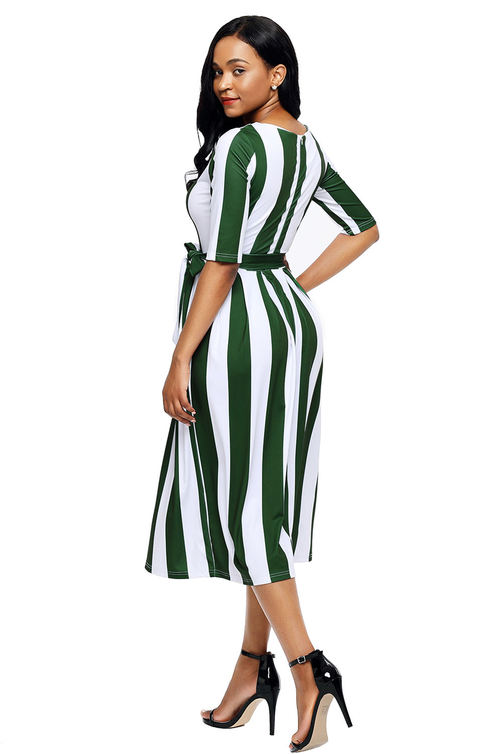 Olive Stripe Print Half Sleeve Belted Dress