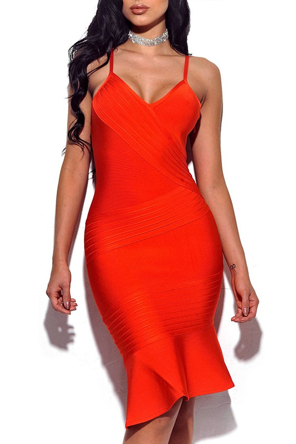 Orange Strappy Mini High Quality Bandage Dress