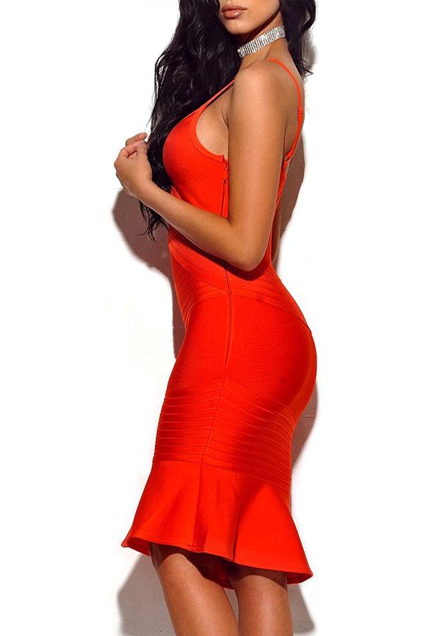 Orange Strappy Mini High Quality Bandage Dress