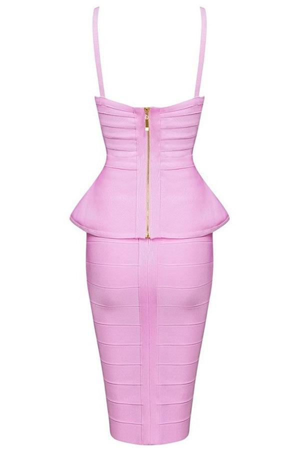 Pink Strappy 2 Pieces Peplum Bandage Dress