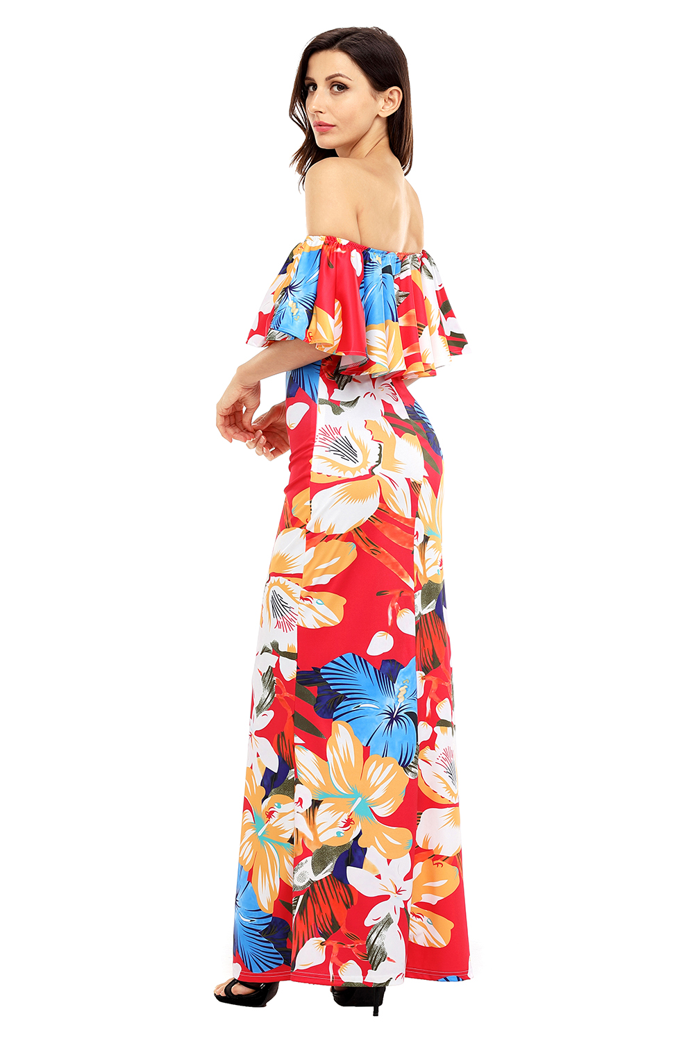 Red Floral Print Off Shoulder Maxi Boho Dress