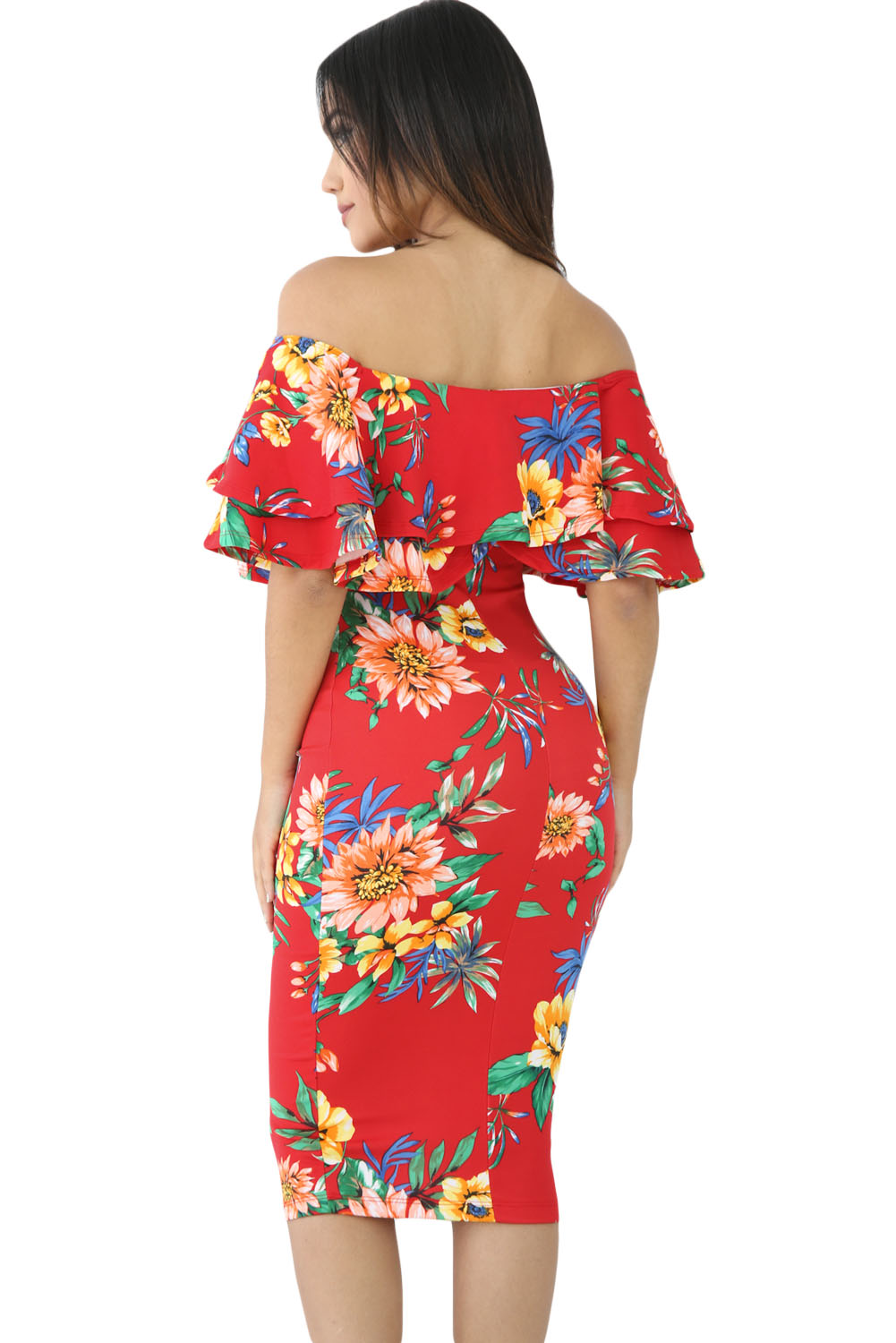 Red Leafy Floral Layered Ruffle Off Shoulder Midi Dress