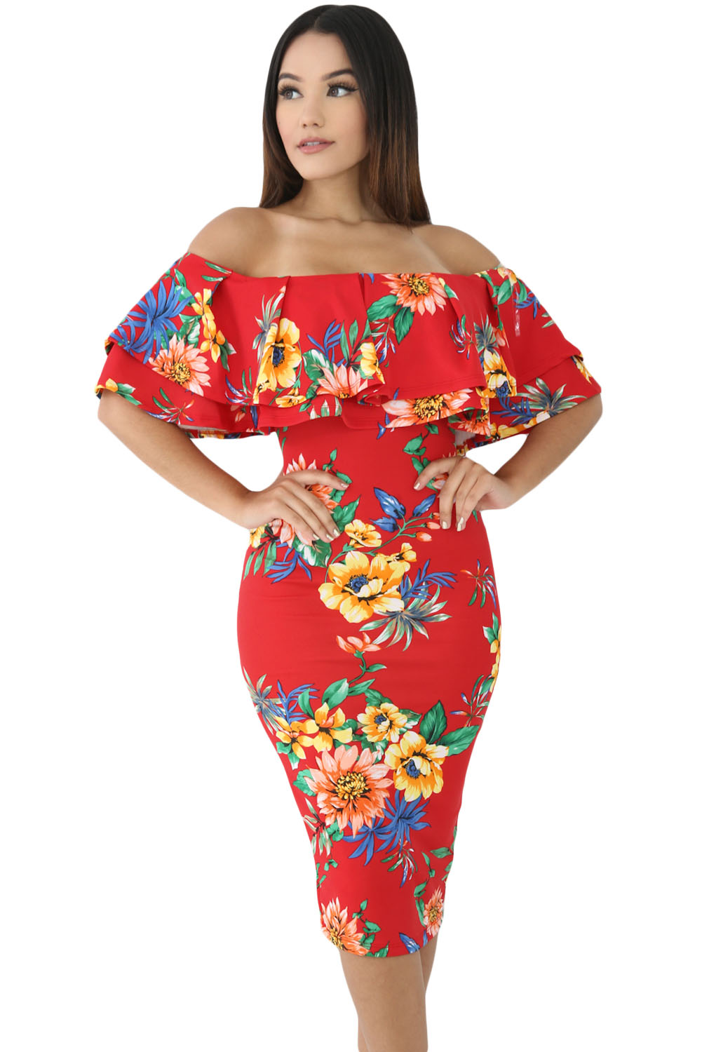 2f093fbede72 Red Leafy Floral Layered Ruffle Off Shoulder Midi Dress – Charming Wear
