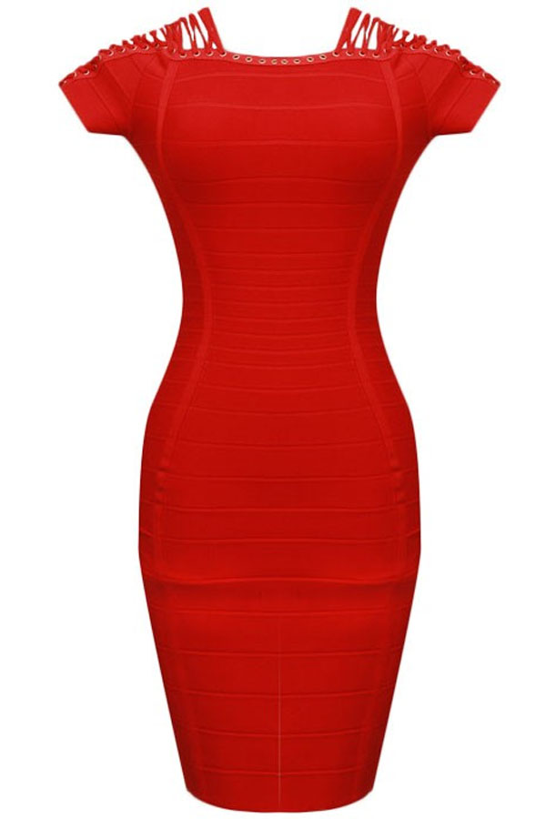 Red Mini Shoulder Cross Lace Evening Dress