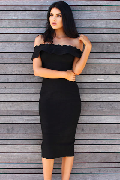 Elegant Off Shoulder Shortsleeve Maxi Black Peplum Neck
