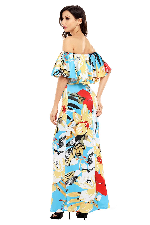 Teal Yellow Floral Print Off Shoulder Maxi Boho Dress