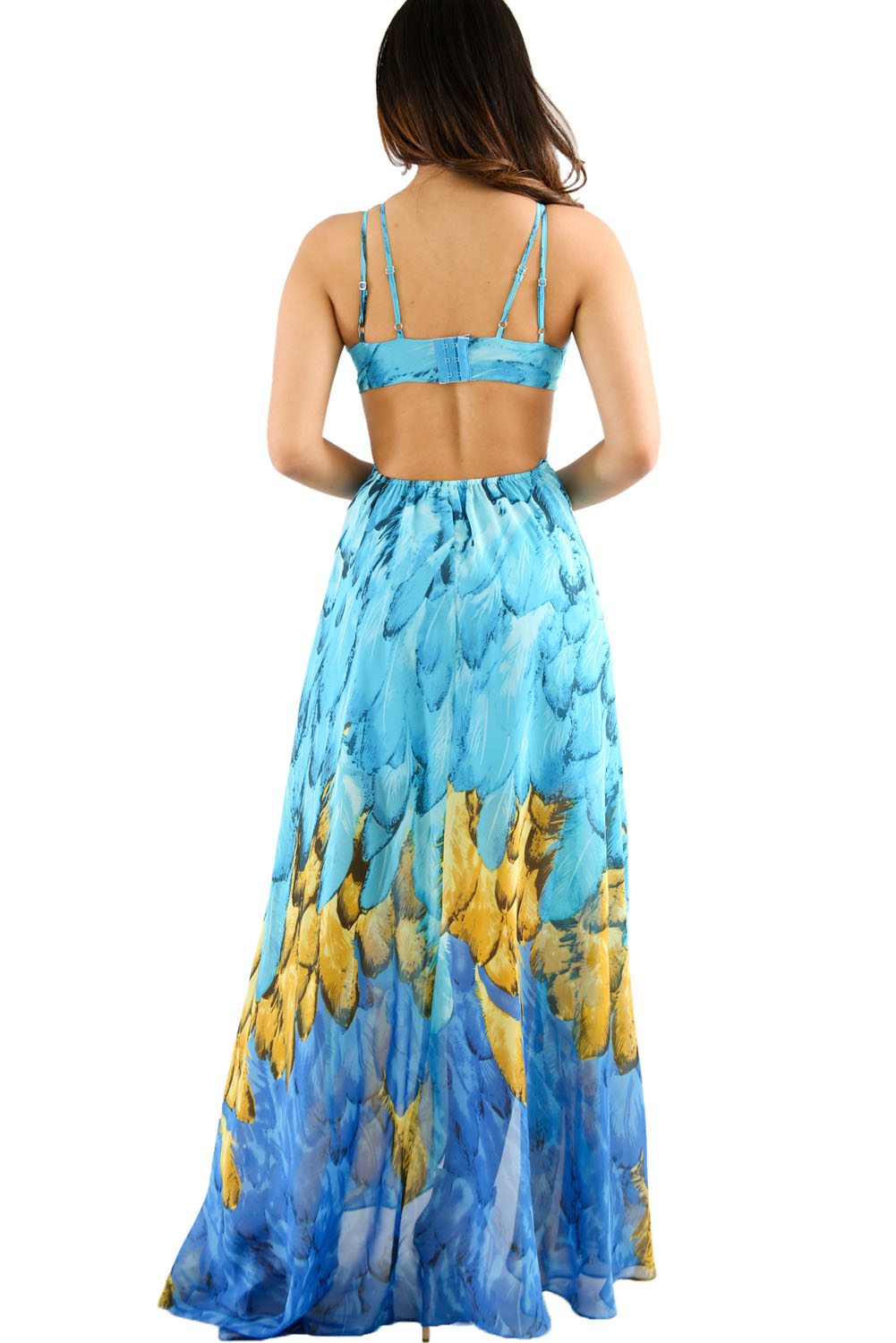 Turquoise Multi-color Feather Print