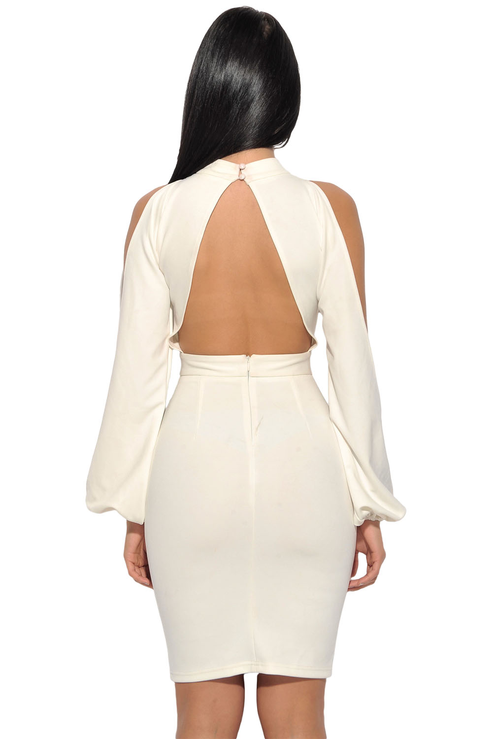 White Cut-Out Sleeve Bodycon Dress