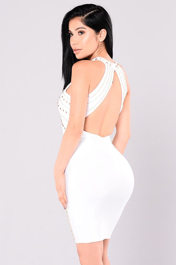 White Halter Sleeveless Mini Metal Studded