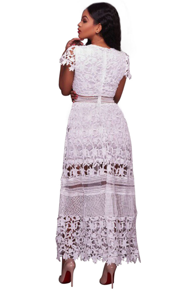White Lace Hollow Out Long Party Dress | Charming Wear