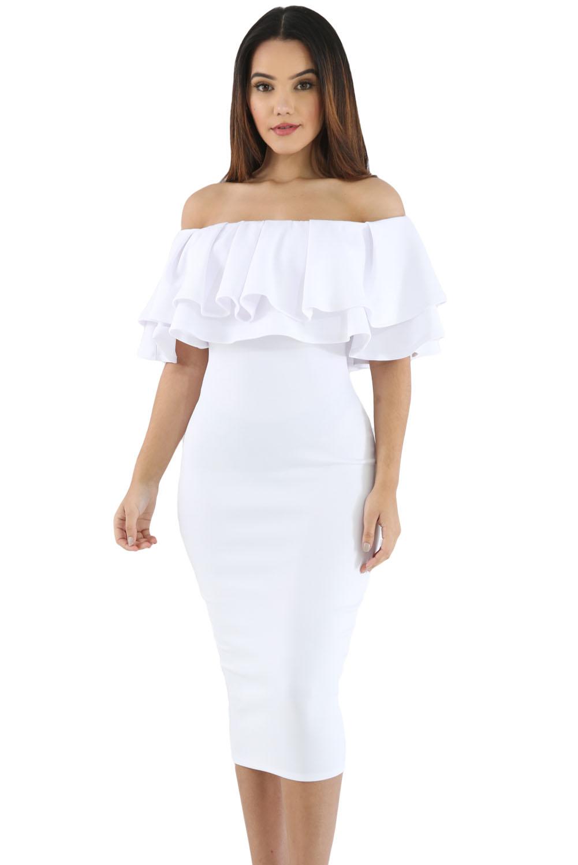 White Off Shoulder Midi Dress
