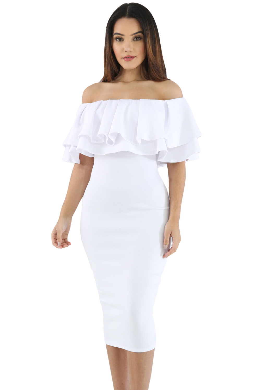 a5605db0bd3e White Layered Ruffle Off Shoulder Midi Dress – Charming Wear