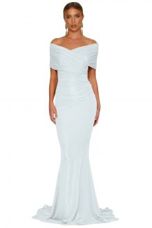 White Off-shoulder Mermaid Wedding Party Gown