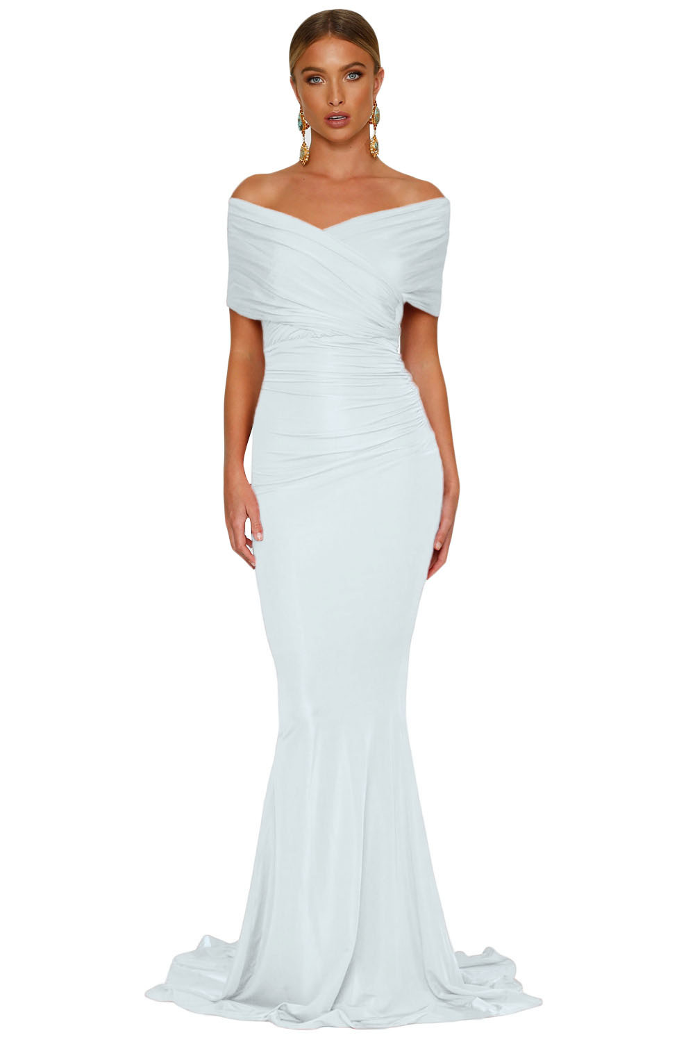 f5bcfd7557f White Off-shoulder Mermaid Wedding Party Gown – Charming Wear