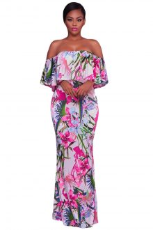 White Pink Floral Print Off Shoulder Maxi Boho Dress