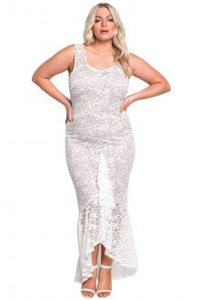 White Plus Size Floral Lace Ruffle Mermaid Maxi Gown