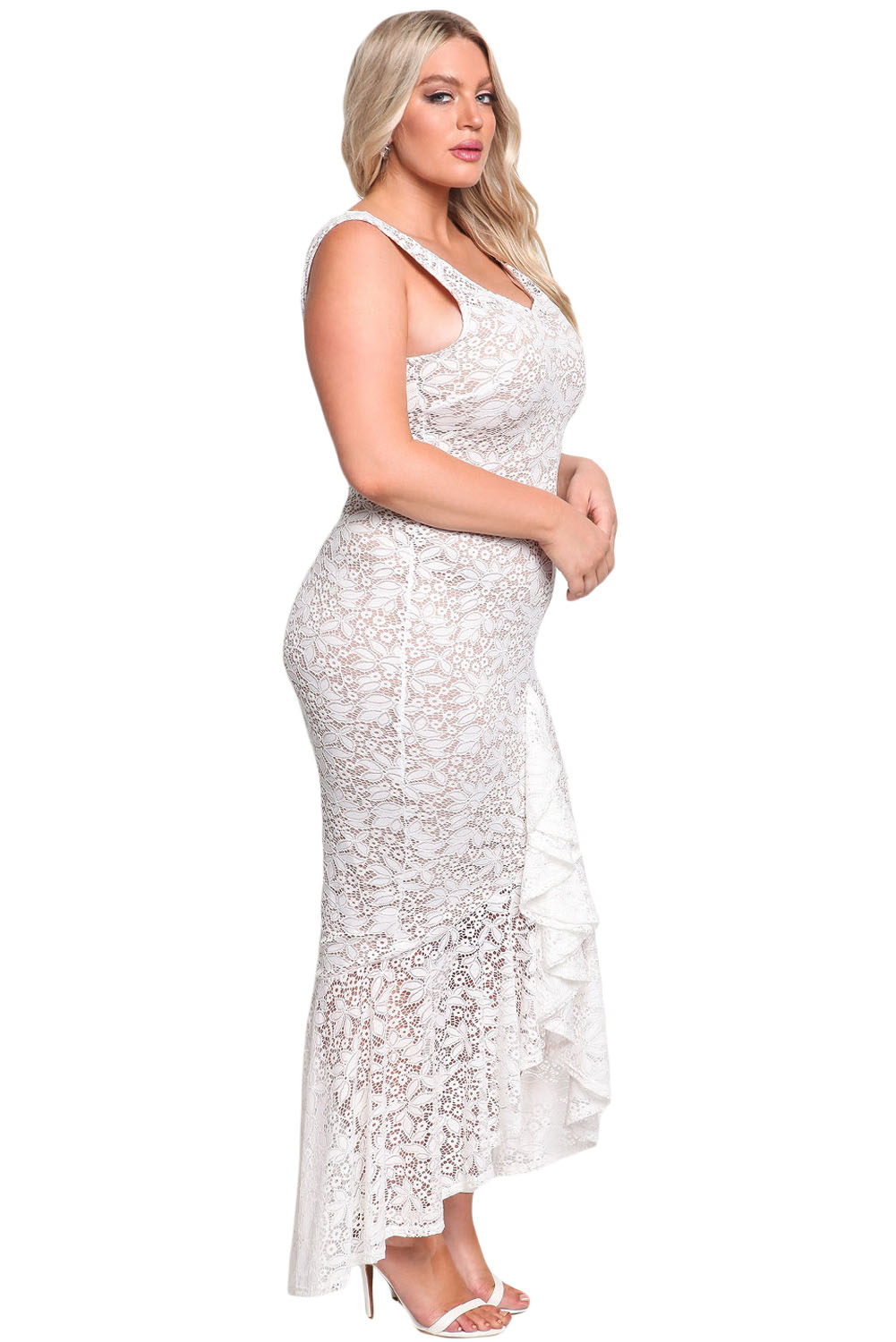 White Plus Size Floral Lace Ruffle Mermaid Maxi Gown | Charming Wear