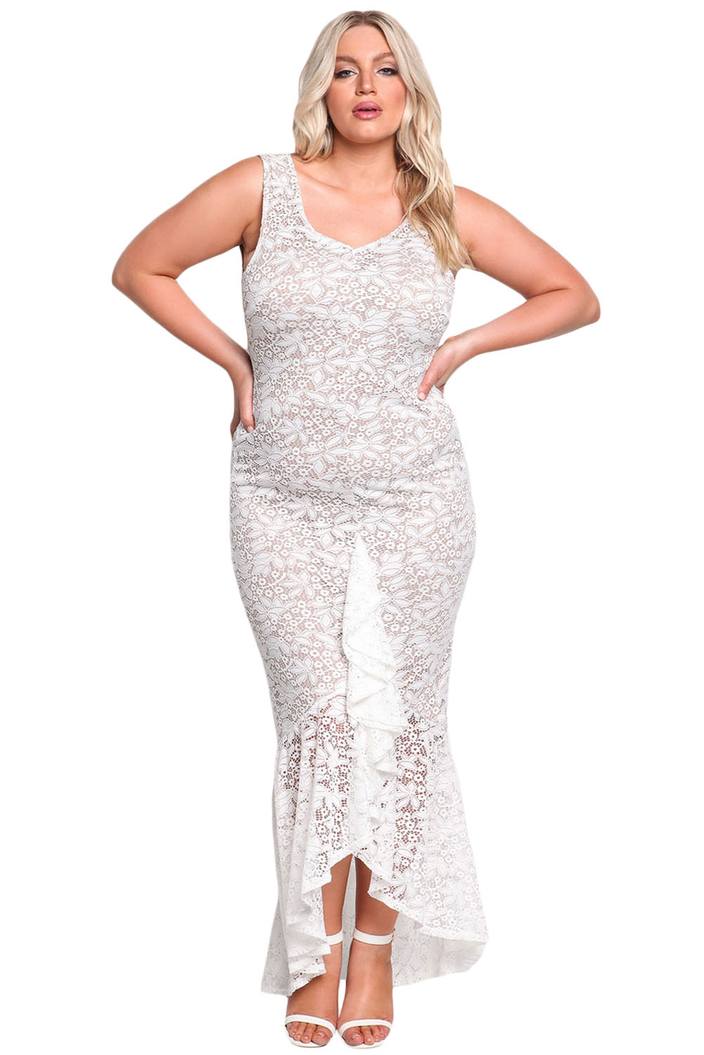 d41b94e0d99 White Plus Size Floral Lace Ruffle Mermaid Maxi Gown – Charming Wear