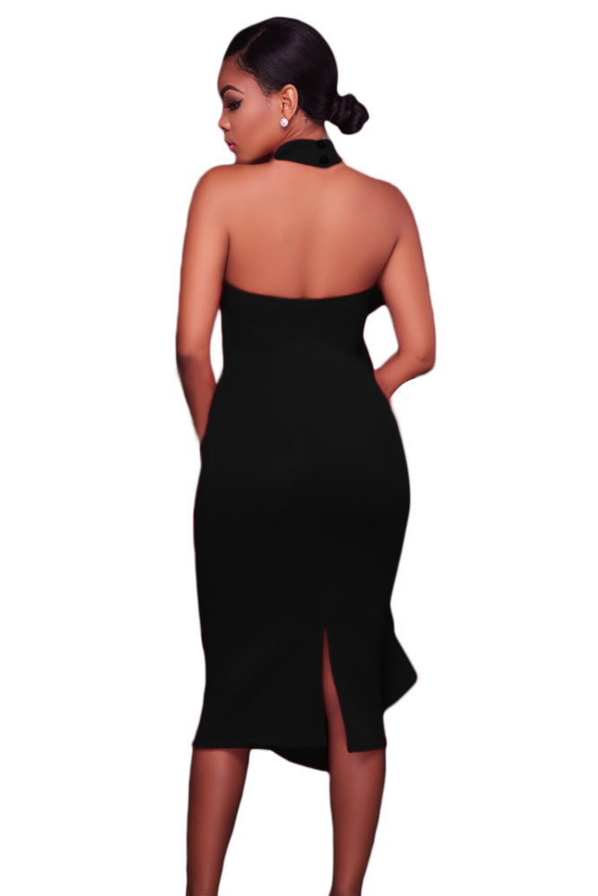 Black Halter High Neck Ruffled Midi with Back Slit