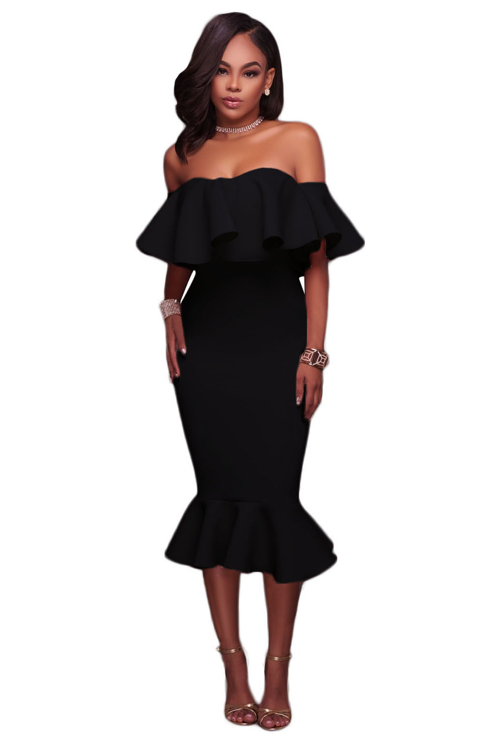 Black Ruffle Off Shoulder Mermaid Midi