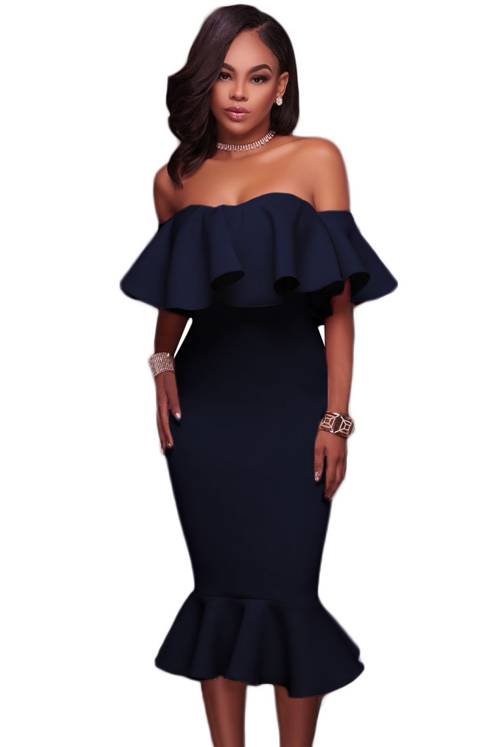Blue Ruffle Off Shoulder Mermaid Midi