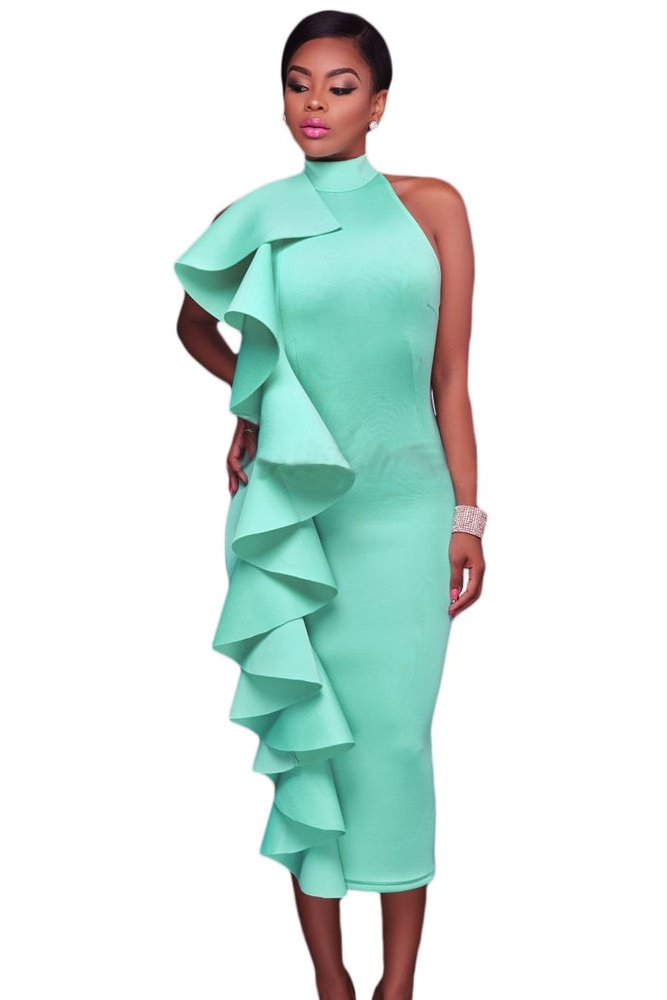 Green Halter High Neck Ruffled Midi with Back Slit
