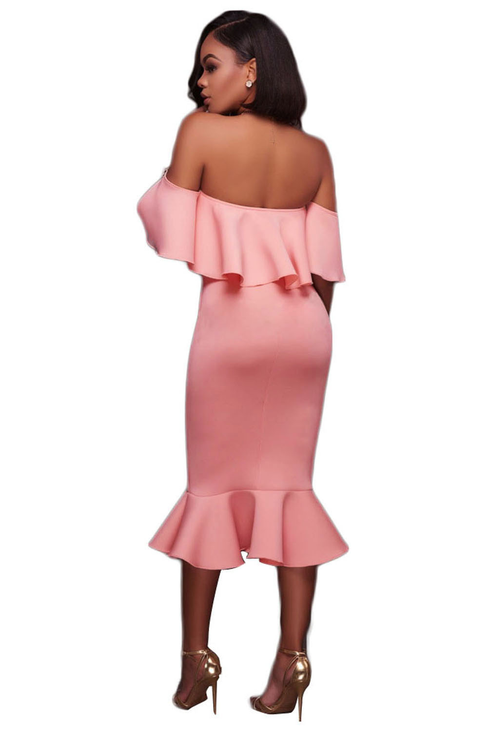 Pink Ruffle Off Shoulder Mermaid Midi
