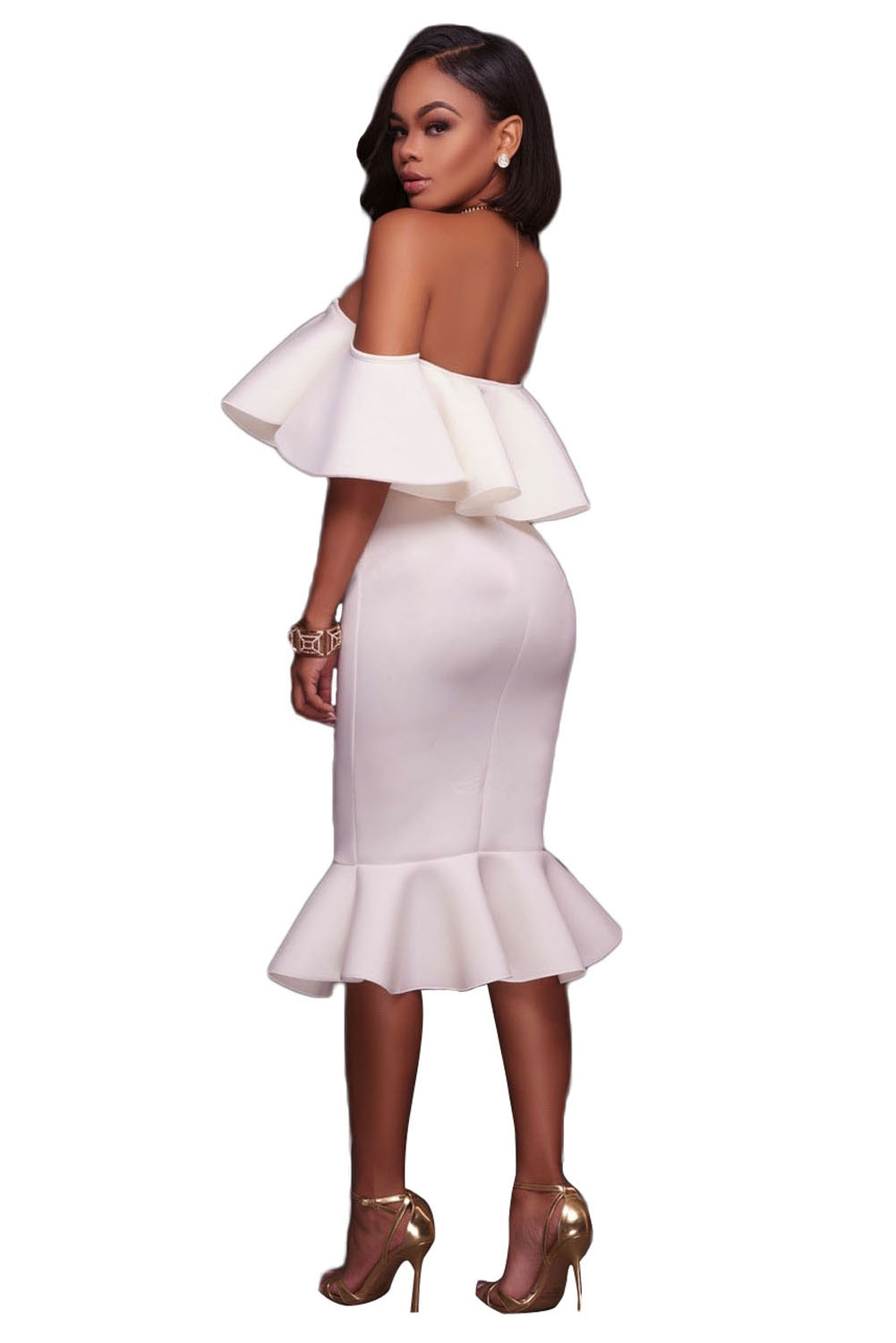 White Ruffle Off Shoulder Mermaid Midi
