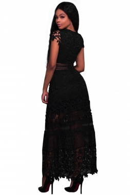 Black Lace Hollow Out Long Party Dress