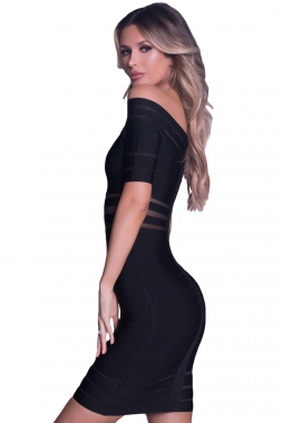 Black Off Shoulder Bandage Dress