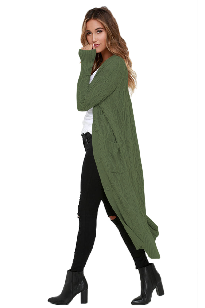 Army Green Knit Long Cardigan Sweater Charming Wear