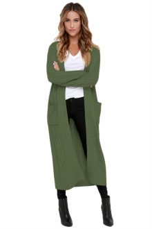 Army Green Knit Long Cardigan Sweater