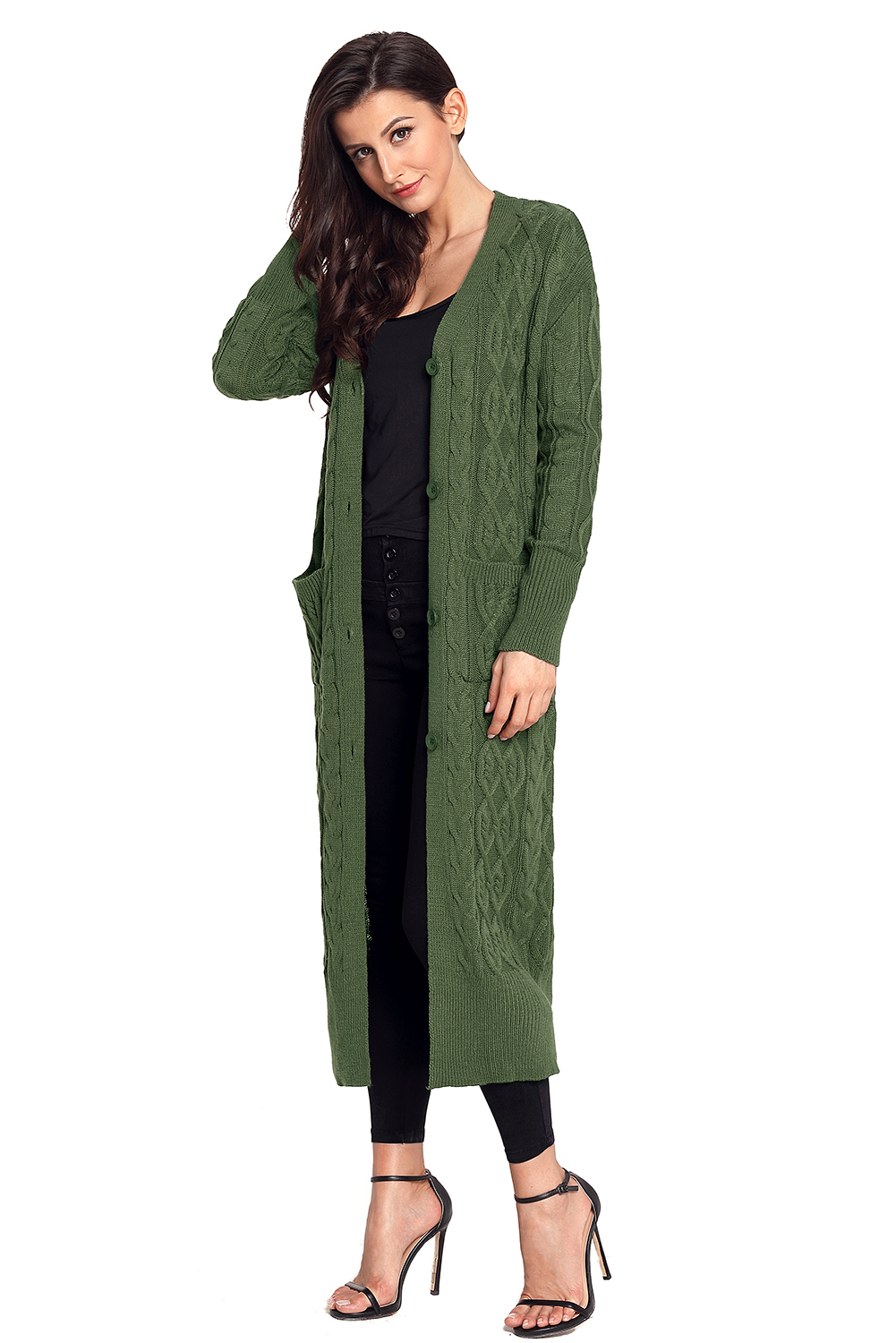Army Green Knit Long Cardigan Sweater | Charming Wear