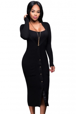 Black Midi Cardigan Dress